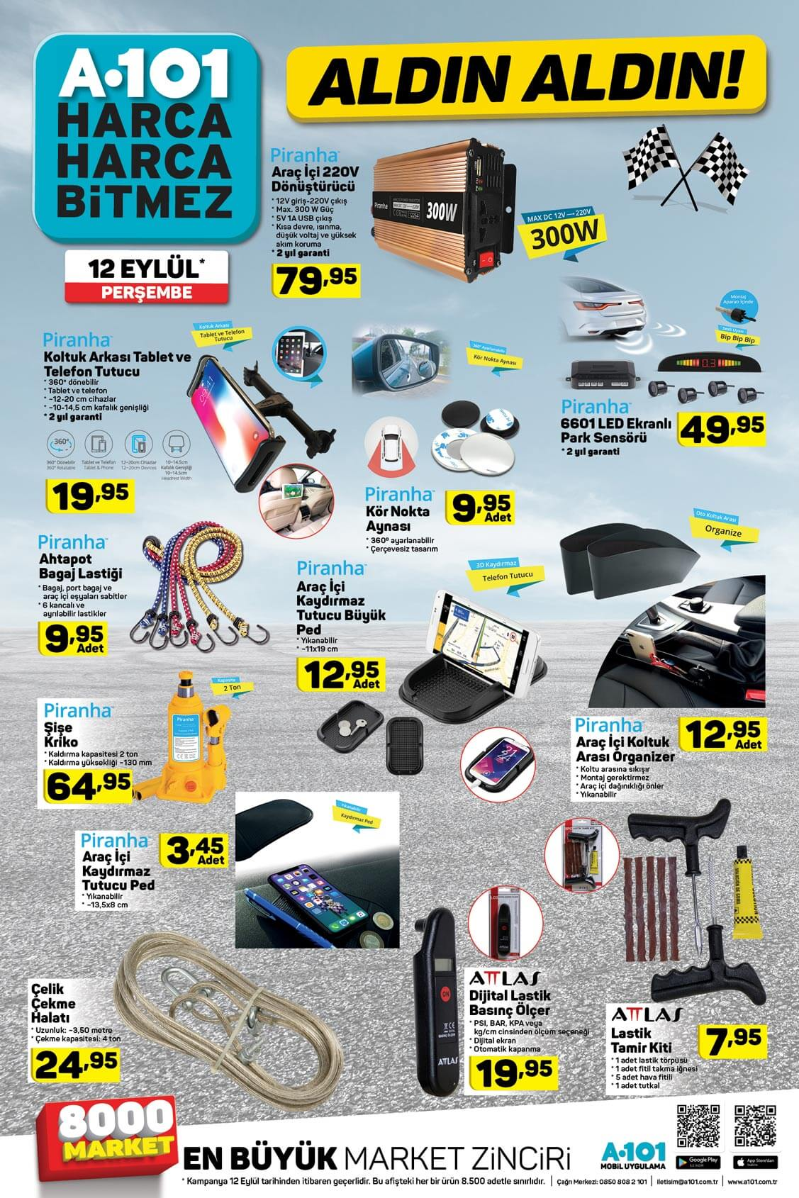 A101 12 Eylül 2019 Otomobil ürünleri